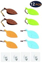 8 Pcs Silicone Premium Colorful Leaf Door Stoppers + 4 Pcs Transparent Hooks for
