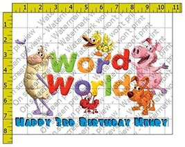 Word World Personalized Edible Frosting Image 1/4 sheet Cake Topper - $9.99