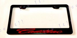 Red Cadillac Escalade Stainless Steel Black License Plate Frame Rust Free - $13.85