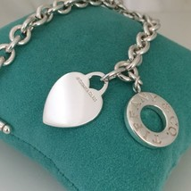 Tiffany & Co Sterling Silver Blank Heart Toggle Donut Doughnut Link Brac... - $199.99