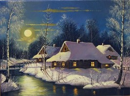 """Winter Night 16X20"""" Paint By Number Kit DIY Acrylic Painting on Canvas U... - $8.90"""