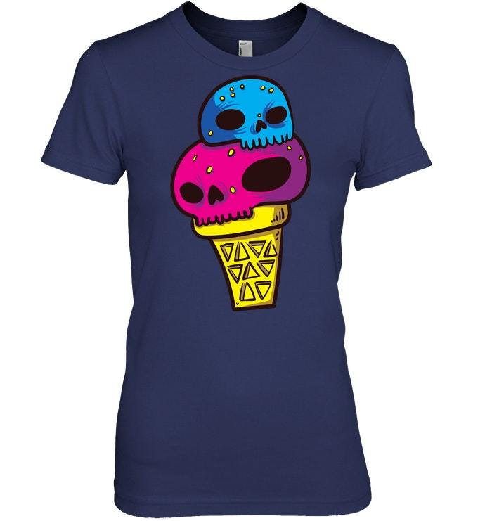 Funny Halloween Ice Cream Skull Tshirt for Girls Boys
