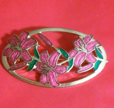 Vintage Signed Red Enamel Flower Gold Tone Pin ... - $4.50