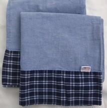 2 Ralph Lauren Blue Chambray King Pillowcases Armistead Plaid Trim Flag Logo USA - $45.00
