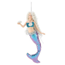 "7"" Dept 56 Mermaid W/Shell Ocean Nautical Beach Christmas Tree Ornament ... - $16.78"