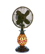 DecoBreeze Tiffany Glass Edwardian Table Fan & Light - DBF6132 - $157.00