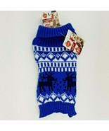 Puppy Dog Blue Christmas Winter Sweater XS Reindeer - $11.99