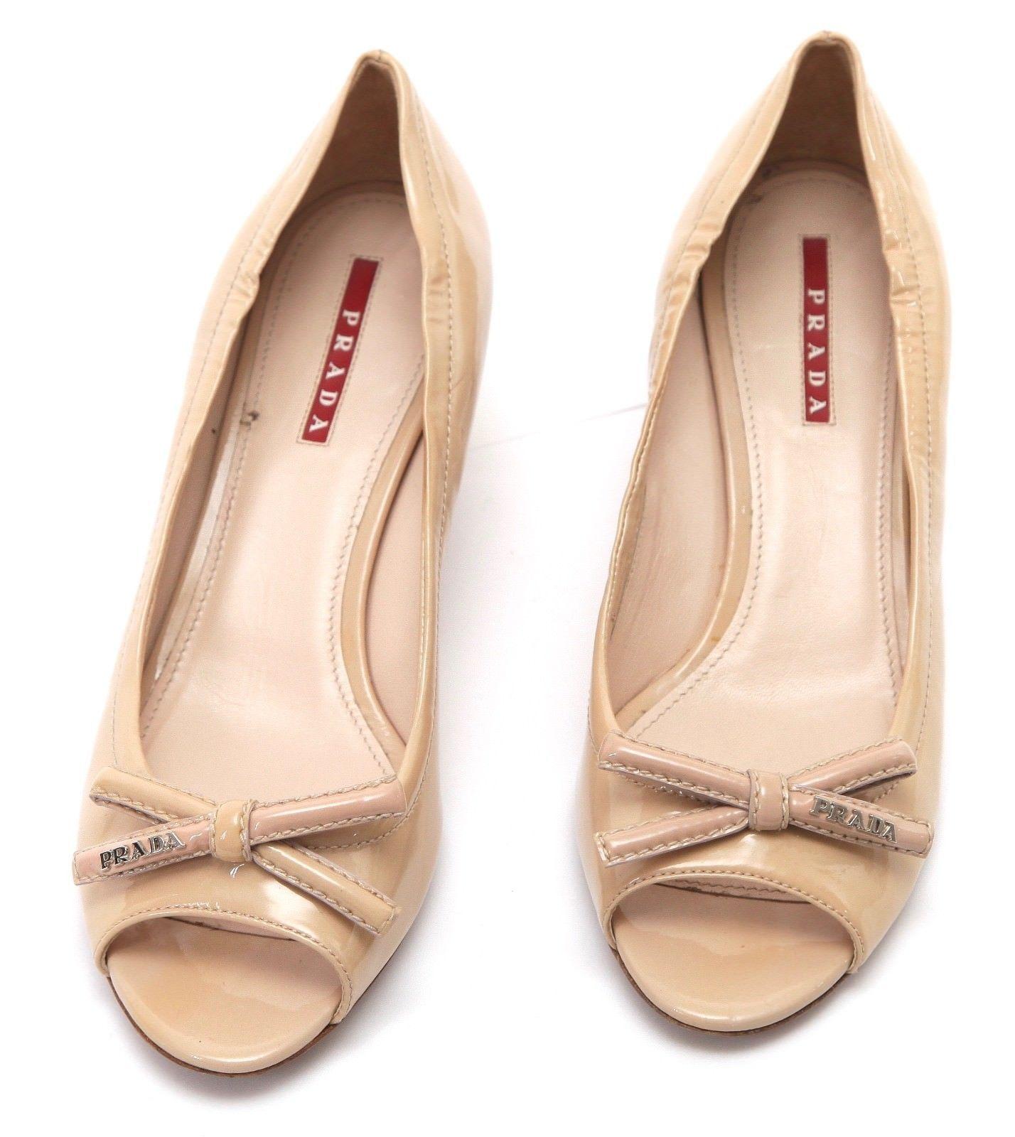 PRADA SPORT Patent Leather Nude Bow Peep Toe Pump Silver Kitten Heel Sz 37