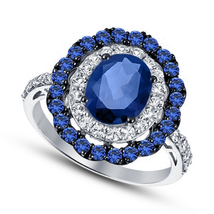 14k White Gold Finish 925 Sterling Silver Double Halo Sapphire Engagemen... - $78.99