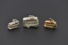 Double Decker Bus Sterling Silver Charm 9k Gold Sterling Silver Moveable Wheels - $9.32+
