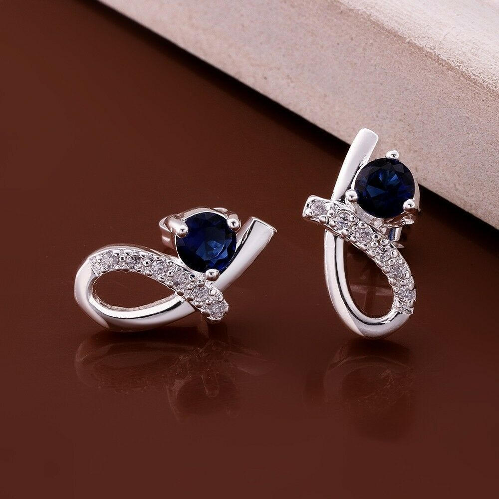 Primary image for Blue Crystal Elegant Stud Earrings 925 Sterling Silver NEW