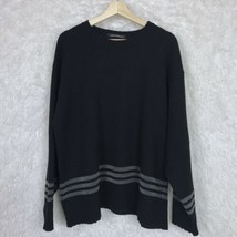 Tommy Hilfiger Black Gray Striped Sweater Sleeve Crest Lambswool Vintage... - $29.69