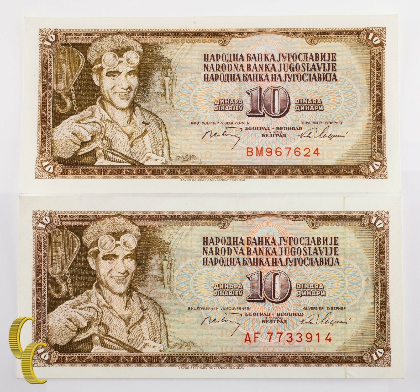 1968 Yugoslavia 2 Pc 10 Dinar Billete Lote (UNC) que No Ha Circulado Estado