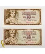 1968 Yugoslavia 2 Pc 10 Dinar Billete Lote (UNC) que No Ha Circulado Estado - $29.76