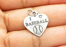 925 Sterling Silver - Vintage I Love Baseball Etched Heart Drop Pendant ... - $21.46