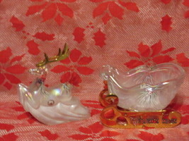 FENTON ART GLASS 1999-2000 WOODLAND FROST REINDEER & SLEIGH SET SIGNED - $375.00