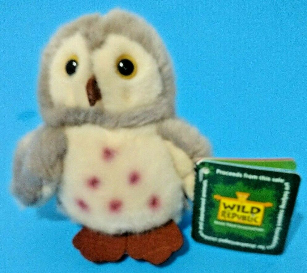 Wild Republic Owl 4.5 inch Gray Plush Stuffed Animal Spotted Mini Fuzzy Bird image 2