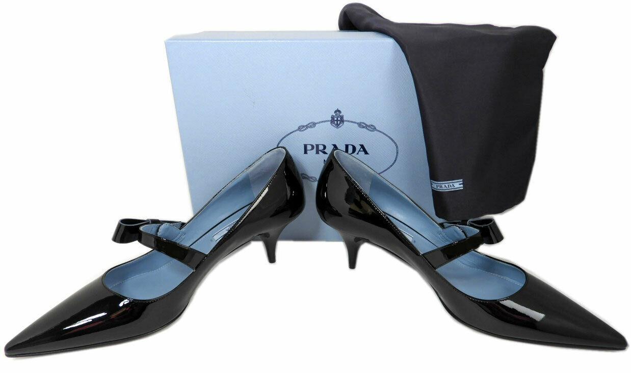 Taille 40 Prada Noeud Logo Cuir Noir Tennis Chaussures Bout Pointu Mary Jane image 4
