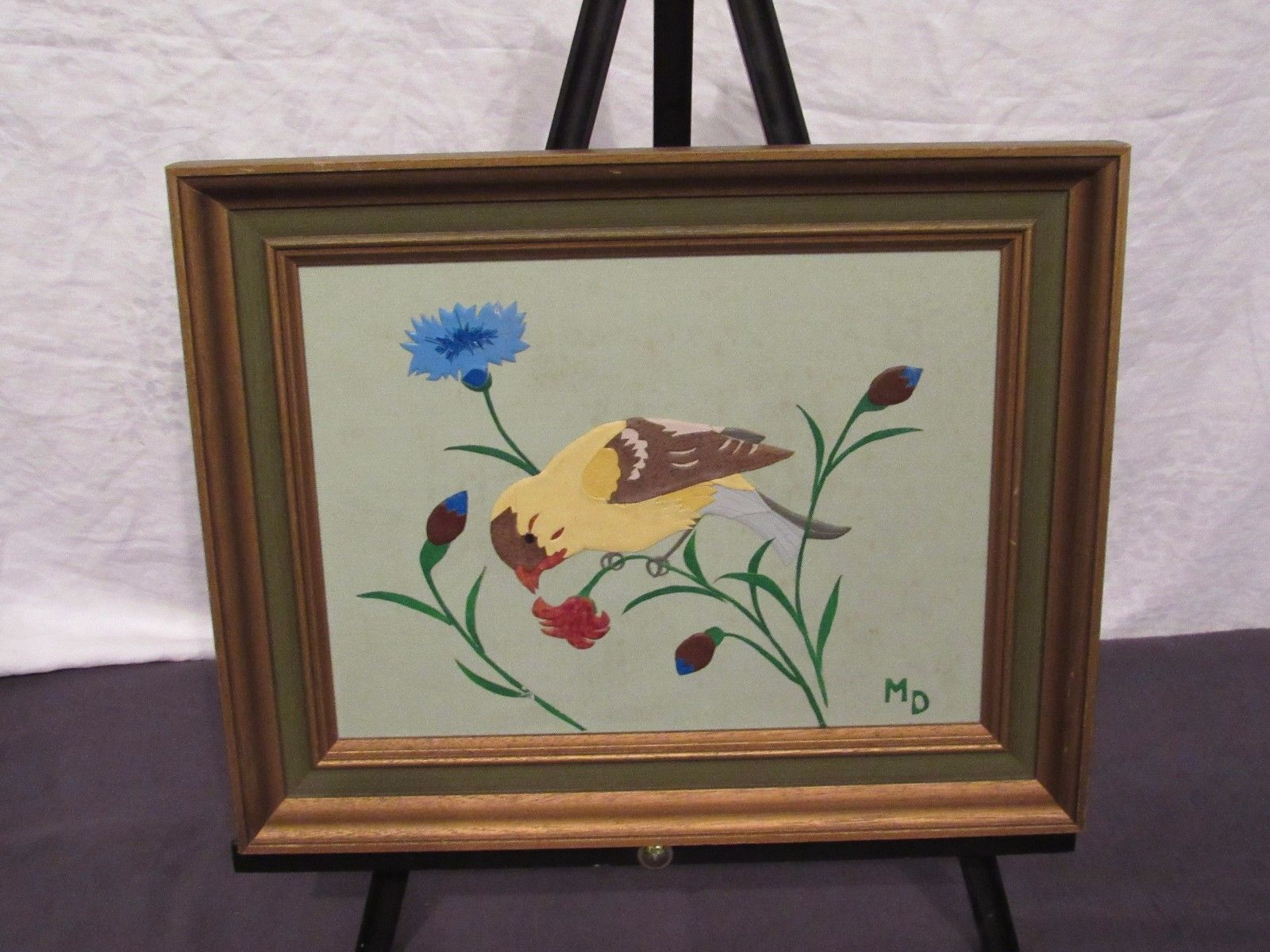 Leather 3D Wall Art Marjorie Decker Framed Goldfinch 12 By 15