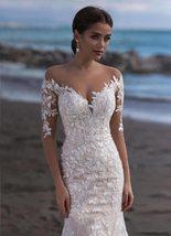 Elegant Illusion Lace Appliqued Mermaid Wedding Dresses Long Sleeve Beach Weddin image 4