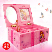Children Music Boxes Rectangle Hand Cranked Luminous Pink Overall Clockw... - $22.76