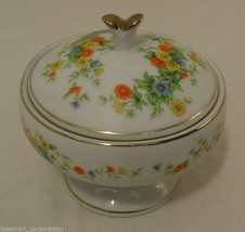 Lefton China Handpainted Candle Holder Dish with Lid - $18.16