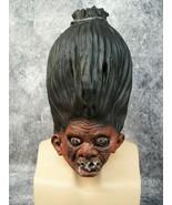 Shrunken Head Illusion Latex Mask Stitched Eyes Voodoo Witch Doctor Haun... - $18.95