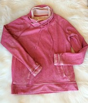 Pink Pullover Sweatshirt Mineral Wash Look Green Tea Women Small Long Sl... - $19.79