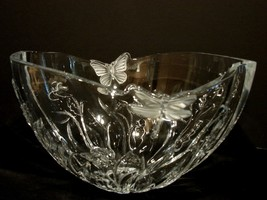 Shannon Designs of Ireland 24% Lead Crystal Bowl ~Frosted Butterfly ~Dragonfly - $49.90