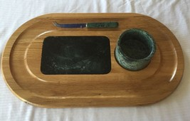 Large Italian Green Marble & Wooden Cutting Board Serving Platter Set w/... - $43.53