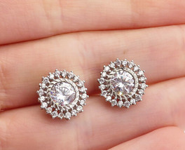 925 Sterling Silver - Vintage Sparkling Cubic Zirconia Stud Earrings - E... - $25.40