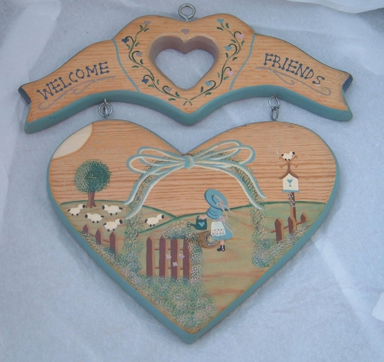 welcome Friends sheep wood Sign Plaque Country Kitsch primitive wall hanging