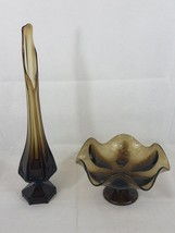 "Vintage Mid Century Modern Viking Brown Glass Stretch Swung Vase 19"" and... - $52.22"