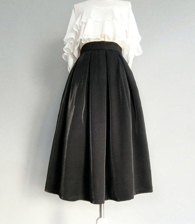 Black Midi Party Skirt Outfit Glitter Black A-line Midi Skirt High Waisted