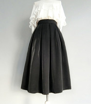 Black Midi Party Skirt Outfit Glitter Black A-line Midi Skirt High Waisted image 1