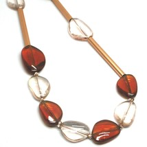 """ROSE NECKLACE AMBER PINK ROUNDED DROPS OF MURANO GLASS TUBE ALTERNATE 50cm 20"""" image 2"""
