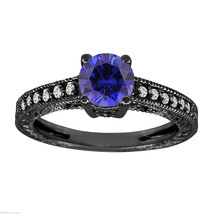 BLUE SAPPHIRE & DIAMOND ENGAGEMENT RING VINTAGE STYLE 14K BLACK GOLD 1.1... - $2,050.00