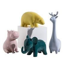 zPour Animal Figurines Decoration Décor Ceramics Ornament Elk+Hippo+Elep... - $54.56