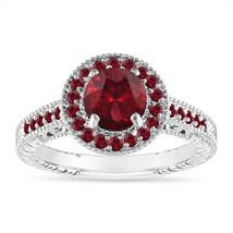1.55 Carat Garnet Engagement Ring, Halo Pave 14K White Gold Certified Ha... - $1,550.50