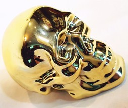 3 Inch Tall Gold Plated Ceramic Skull Halloween Decoration - £4.07 GBP