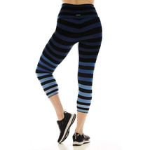 K-Deer Women's Blue/Black/Grey Emme Stripe Capri Length Leggings, XS-4X image 5