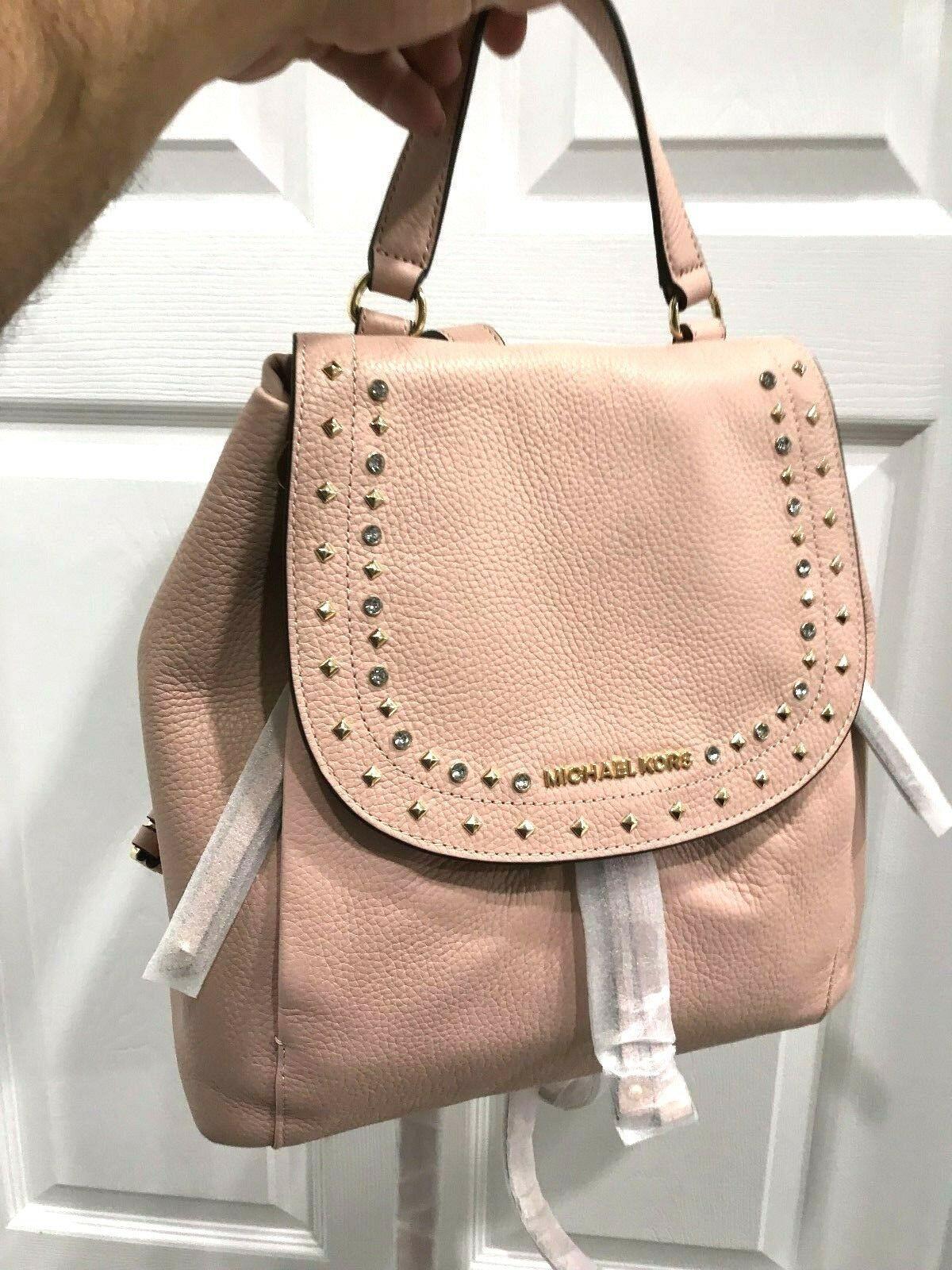 3f7613e834f7 Michael Kors Jet Set Large Riley Jewels & Studs Backpack Pastel Pink $428  New