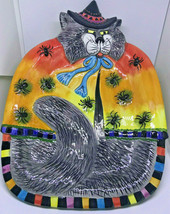 Fitz & Floyd Halloween Cat Witches Canape Plate Platter Tray Spiders Gray /1 - $12.34