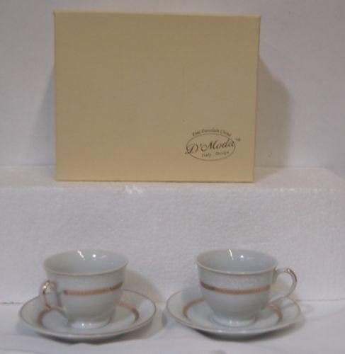 D Moda Cup Saucer Set Brilliance2 Gold Colored Porcelain Expresso Collection