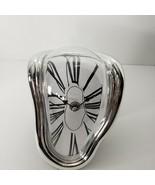 Wall Clock Surrealist Salvador Dali Style Distorted Melting Silver Mante... - $29.02