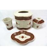 Croscill Bellissima Bathroom Porcelain 5-PC Tissue Cover Soap Dish Cup a... - $65.00