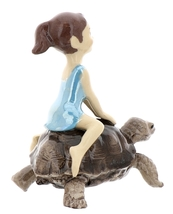 Hagen-Renaker Miniature Ceramic Turtle Figurine Desert Tortoise with Girl Riding image 3