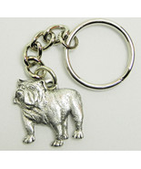 Bulldog Keychain Keyring Dog Harris Pewter Made in USA Key Chain Ring - $9.48