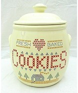 Cross Stitch Cookie Jar Fresh Baked Treasure Craft Sampler Country 1984 ... - $59.39