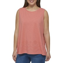 Tommy Hilfiger Womens Embroidered Scoop-Neck Tank Top Peach Shirt Plus 0... - $14.84